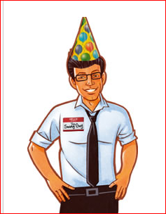 Swagbucks - Swagbucks guy wearing a birthday hat