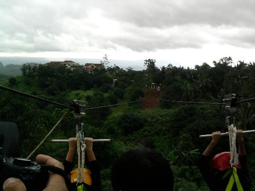 a view from the zipline... - from the top of the tower... over to the other side of the mountain, a few hundred meters away... hanging on a line. hehe