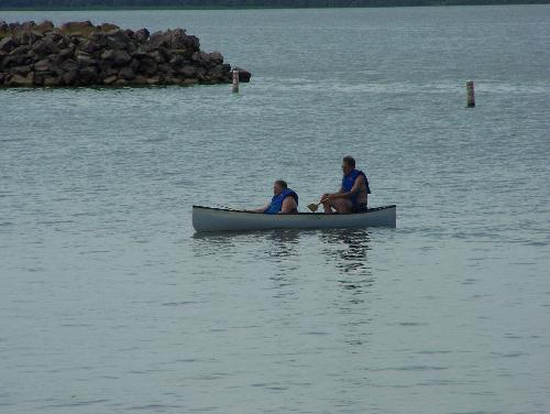 Hubby and I in a canoe - Lake Kanopolis, in Kansas. July 8, 2011. My daughter was visiting, we went to the lake and visited with friends.