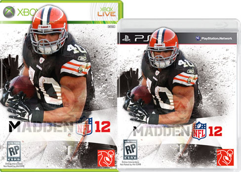 Peyton Hillis Madden 12 Cover - This is the cover of the Madden 12 video game. Peyton Hillis from the Cleveland Browns is featured. He won a 32 player tournament based on fan voting to become the cover athlete for this game.
