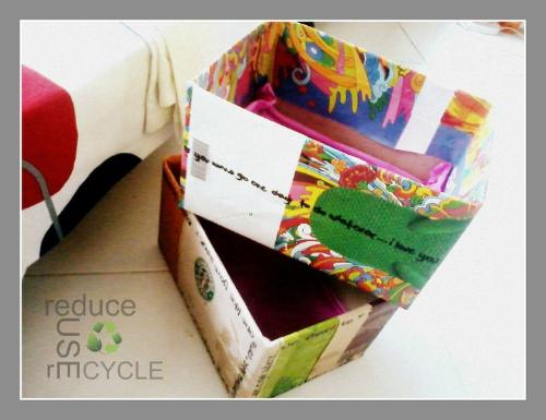 CRAFT IDEAS-everything reused - This is a picture of my latest project where I used old useless boxes lying around my room. I used old paper bags from Starbuck's coffee, Bo's coffee and Havaianas-All flip-flops to cover the boxes (since these were all made of pure recycled paper and which also had very colorful graphic designs. I have also thought of covering them in clear plastic but I hated the idea of using a chemically-prepared material. Lastly, I line the bottom of the boxes with Japanese paper. I used these containers to organize little things that always clutter in my closet.   Hope this gave you an idea!  xx, ria, batteries not included.
