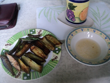 Fried Eggplant, etc. - A healthy breakfast treat