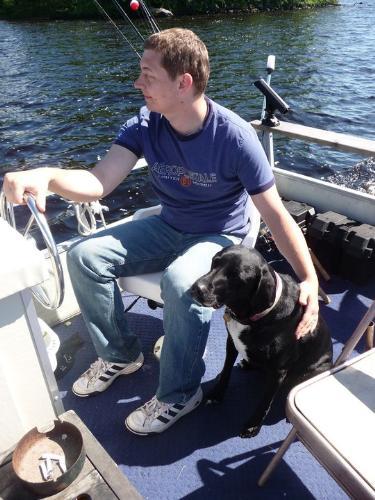 Kolt and Laya - My nephew Kolt and his Lab/Plot hound Laya.
