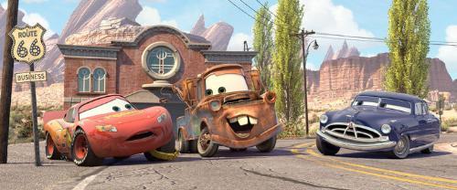 Cars - Mader,Lightning McQueen and the Hudson Hornet.
