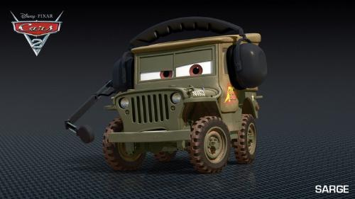 Sarge - Sarge,the Army Jeep. He is also part of Lightning McQueen's pit crew.