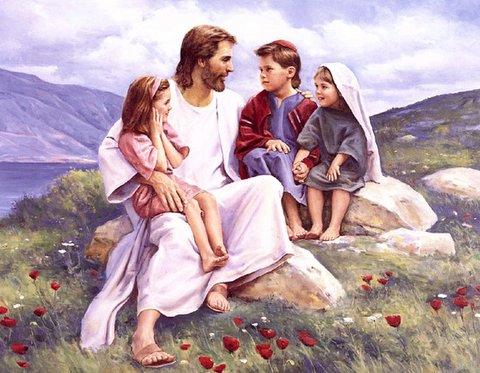 Jesus and Children - A group of children surrounding Jesus.