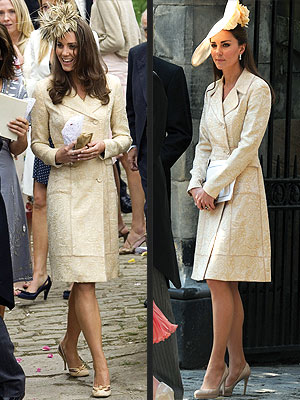 Same outfit - Kate wore this coat dress first to a wedding in 2006. The hat is ridiculous! She wore it again with a beautiful hat last saurday to Prince Williams cousin Zara Phillps wedding. I saw nothing wrong with doing it even though there were people who did!