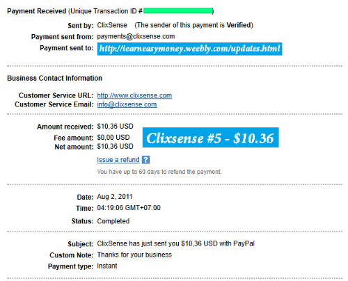 Clixsense Payment #5 - This is our latest payment proof from Clixsense - the most Elite PTC site ever!!