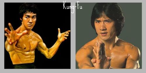 Bruce Lee and Jackie Chan - A picture of Bruce Lee and Jackie Chan