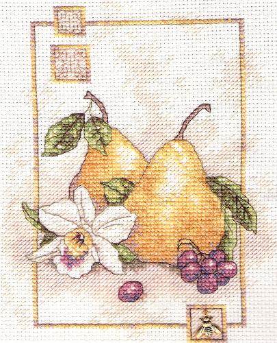 Pears - Recently finished cross-stitch waiting to be framed.