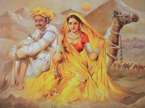 Desert Romance - A beautiful Rajasthani Painting depicting romance...