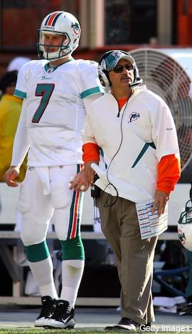 Coach and Qb - Miami Dolphins QB Chad Henne and hi head coach Tony Saprano.
