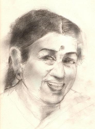 Lata Mangeshkar  - A pencil drawing rambabu