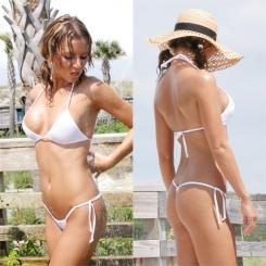Bikini - A white thong bikini.
