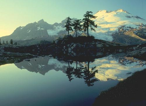 Mountains and lake.. - A lovely painting of mountains reflected in the lake...