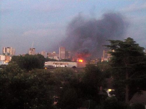 London in Fire - London in Fire. Riots in London. Croydon Area.