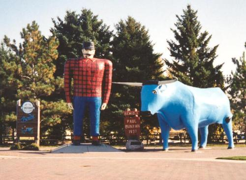 Paul Bunyan and Blue - The legend goes there was this giant who was a lumber jack who had a giant blue ox named Blue.I remeber hereing the tale as a kid.