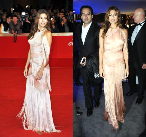 Eva Mendes - A beautiful dress but zeva wore in twice on one trip over seas with in 4 days! Not the greatest of ieas!