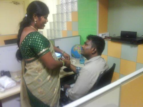 Rakhi - Sister ties the silk thread called Rakhi ...