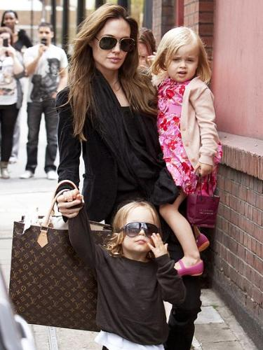 Twins - Angie with twins Knox and Vivienne Jolie-Pitts.