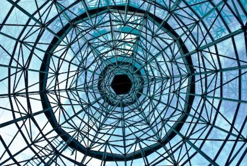 ceiling - a glass ceiling with metal steel irons.