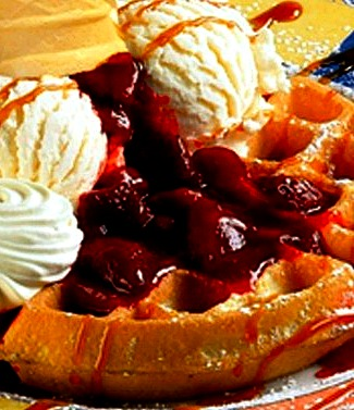 Waffle - its a belgian waffle with ice cream on top.