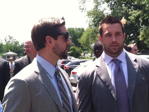 More Packers - Here is Aaron Rodgers and Matt Wilhem at the White House on friday to meet President Obama.