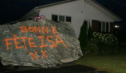 20 ton boulder - Happy Birthday Isa it says