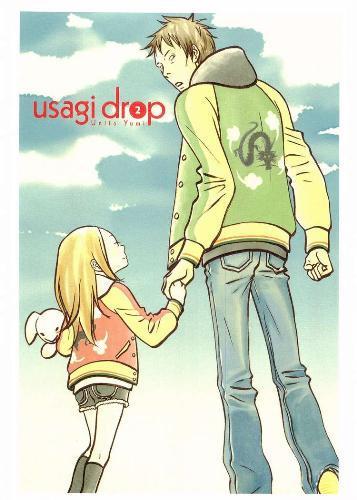 Usagi Drop~! - Love this new anime! It is a heart warming story written by Yumi Unita. Synopsis below: Going home from his grandfather's funeral, a single 30 yr old Daikichi is surprised that his grandfather had fathered an illegitimate child. His entire family is embarrassed about the situation and have secluded her in the family. Daikichi, getting pissed off at this result and have singlehandedly decided to take care of this illegitimate child named Rin.  GO WATCH IT NOW! :D