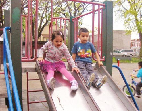 Enjoying the slides - Outdoor fun