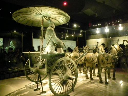 Terracotta chariot - Another view of a chariot with driver and horses found in Terracotta.