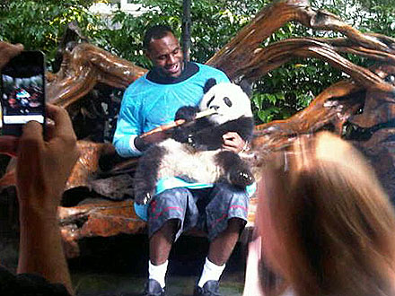 LeBron James - LeBron James in China at the Panda sanctuary. He was able to hold ans feed a baby panda!