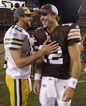 Quarterbacks - Packers QB Aaron Rodgers with Clevland Browns QB Colt McCoy.