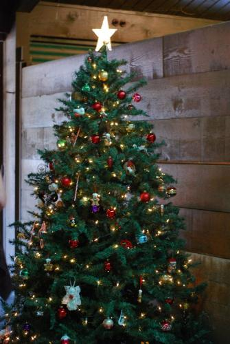 Christmas Tree - A Christmas Tree in a horse barn.