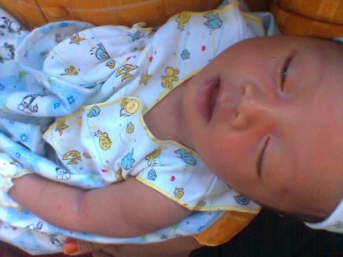 Infants - Baby who opened the eyes from sleep.