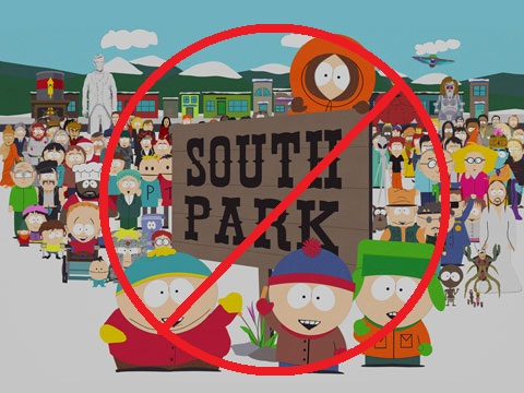 no more southpark :( - south parked crossed out