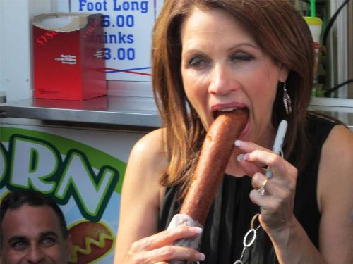 Michelle Bachmann - She is eating corndog, she didn't know someone tooks her picture
