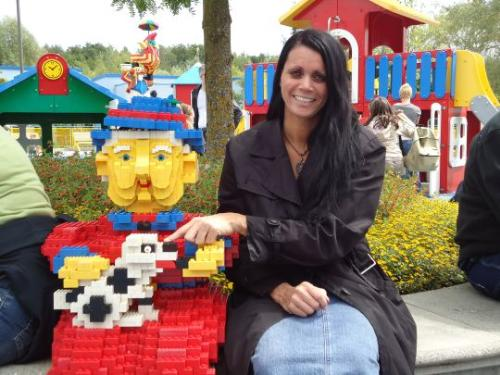 Legoland - lady with dog - I am in Legoland. More interesting as I thought it would be on the first sight. The old lady with the dog reminds me of someones dog I don't like to babysit...