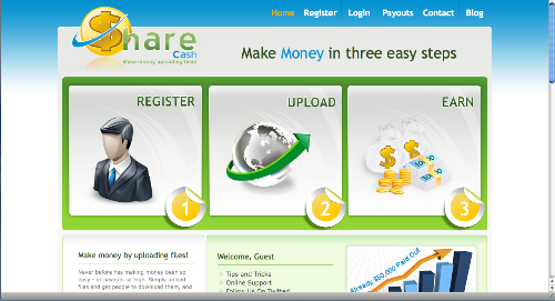 Sharecash homepage - This is the homepage of sharecash