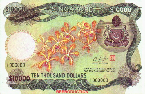 $10000 - This is a pic of a ten thousand-dollar note in Singapore currency.