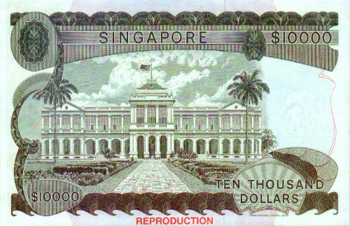 $10000 - This is a pic of the back of a ten thousand-dollar note in Singapore currency.