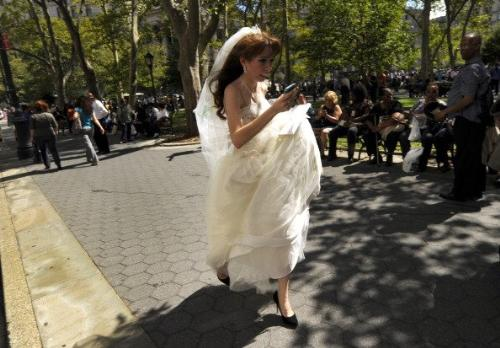 Runaway bride? - she was running out of the New York Courthouse when that earthquake hit the other day! She did get marreid later in the day!
