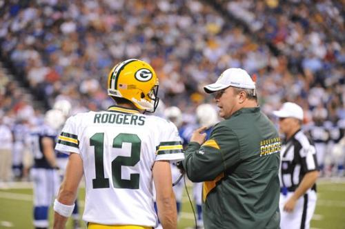 QB and Caoch - Packer QB Aaron Rodgers talking to Head Coach Mike McCarthy saturday night.