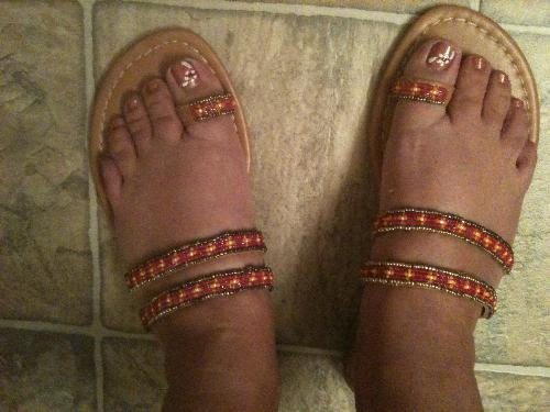 New Summer Sandals - A shot of my new sandals that I ordered from Avon for only $8. They came in today and they are So comfortable!