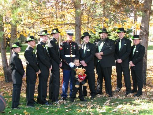 Groomsmen - My friend Dawn's brother got married last Ocotber. Here are all the groomsmen with the groom. The groom is wearing the Marines dress uniform.
