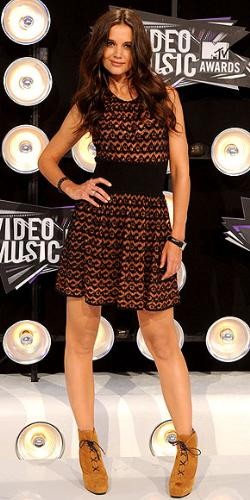 Katie Holmes - Ok the dress is nice but the boots are all wrong! I would burn them if I was her!