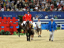 Authentic - This is Authentic and his rider Beezie Madden at the 2008 Summer Olypmics where they won bronze in individual show jumping!