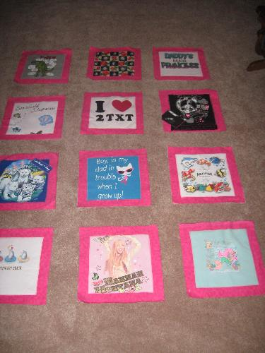 T- Shirt Quilt - This is the T-shirt quilt I am making for my granddaughter using the front of her 'meaningful' t-shirts from past years. This is as far as I have gotten, the front of the T's mounted on blocks.