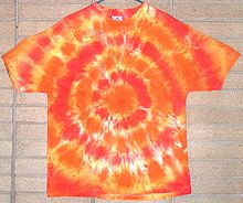 Tyedye shirt - Very big in the 1960's and early 1970's! Two weeks ago I was at a funeral were alot of people wore tyedyes to honor the person who died! He had wore tyedyes alot!