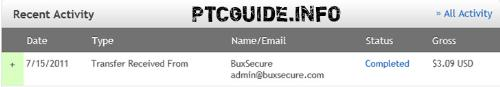 My 1st Payment from BuxSecure (InfinityBux) - The payment was instant! Very nice! Can't wait for the next one ;-)